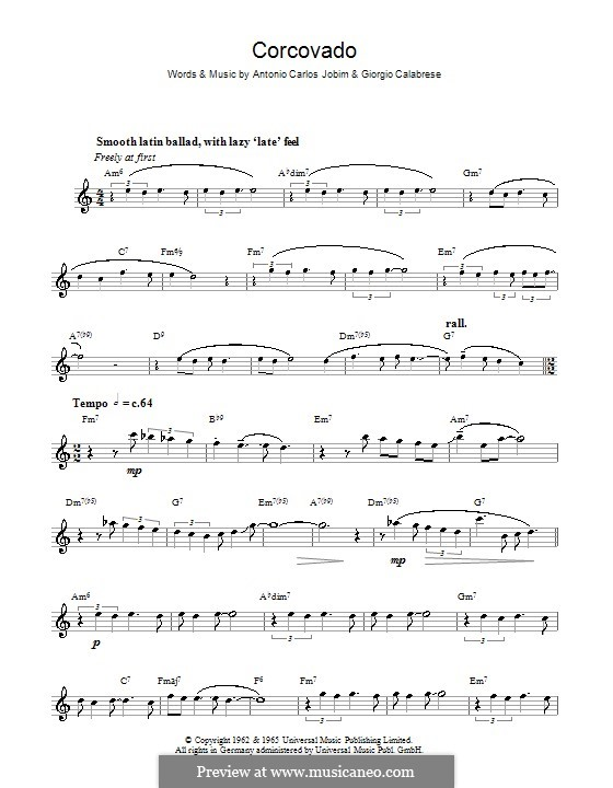 Corcovado (Quiet Nights of Quiet Stars): Для флейты by Antonio Carlos Jobim