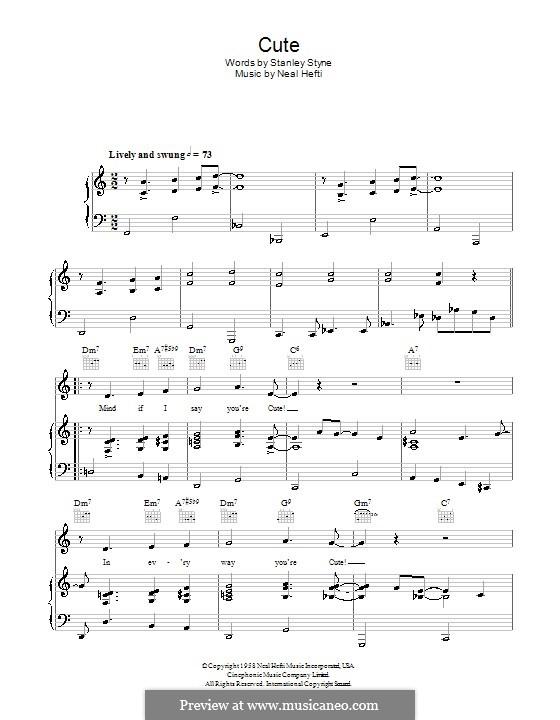 Cute: Для голоса и фортепиано (или гитары) by Neal Hefti