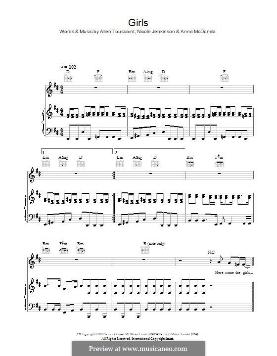 Girls (Sugababes): Для голоса и фортепиано (или гитары) by Allen Toussaint,  , Nicole Jenkinson