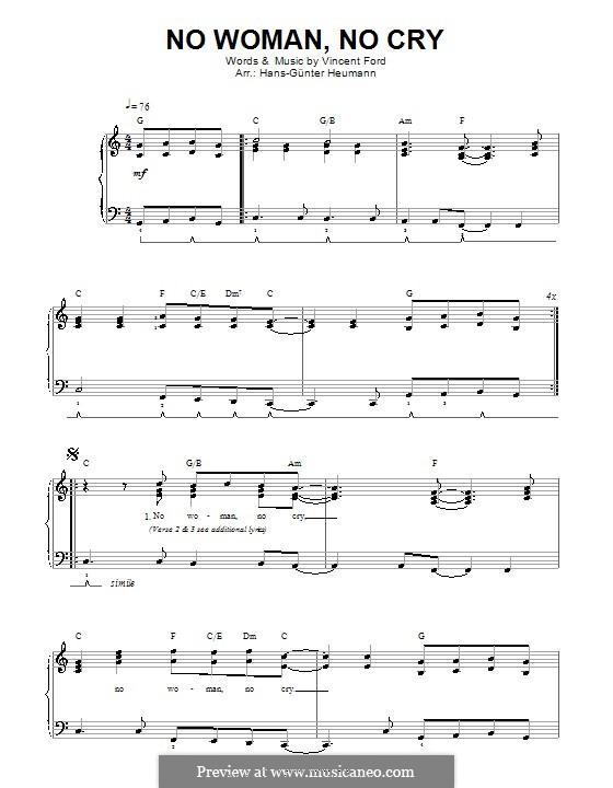 No Woman No Cry (Bob Marley): Для голоса и фортепиано by Vincent Ford