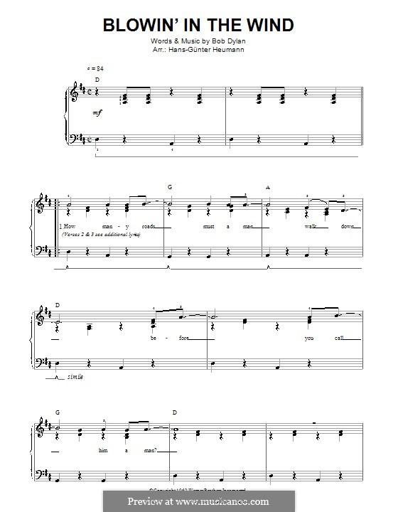 Blowin' in the Wind: Для голоса и фортепиано by Bob Dylan