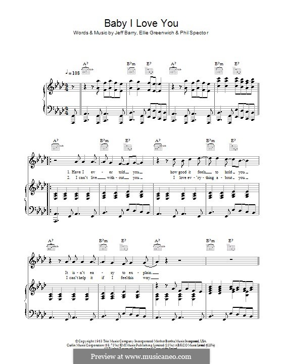 Baby I Love You (The Ramones): Для голоса и фортепиано (или гитары) by Ellie Greenwich, Jeff Barry, Phil Spector