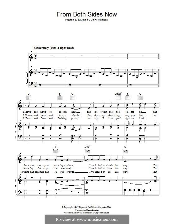Both Sides Now: Для голоса и фортепиано или гитары (до мажор) by Joni Mitchell