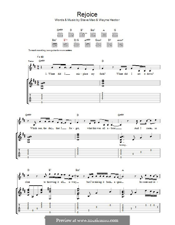 Rejoice: Мелодия, текст и аккорды by Steve Mac, Wayne Anthony Hector