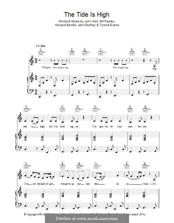 The Tide is High (Get the Feeling): Для голоса и фортепиано или гитары (Atomic Kitten) by Bill Padley, Howard Barrett, Jeremy Godfrey, John Holt, Tyrone Evans