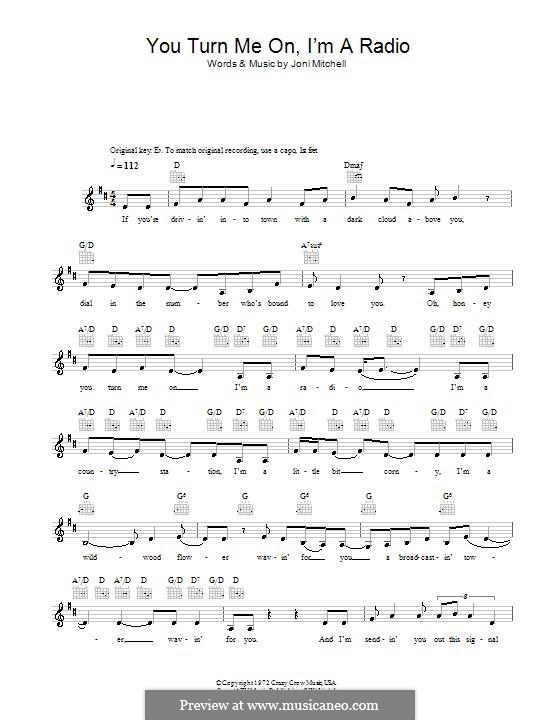 You Turn Me on I'm a Radio: Мелодия, текст и аккорды by Joni Mitchell