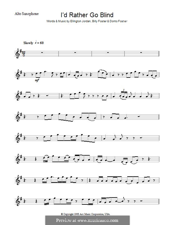 I'd Rather Go Blind (Etta James): Для саксофона by Billy Foster, Donto Foster, Ellington Jordan