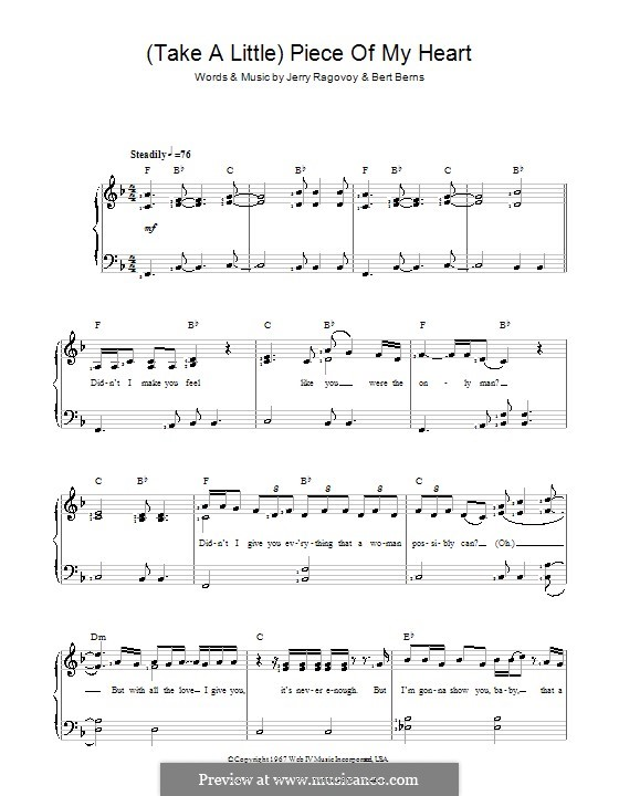 (Take a Little) Piece of My Heart: For easy piano (Erma Franklin) by Bert Berns, Jerry Ragovoy