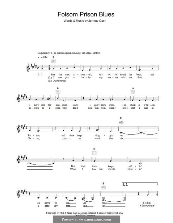 Folsom Prison Blues: Мелодия, текст и аккорды by Johnny Cash