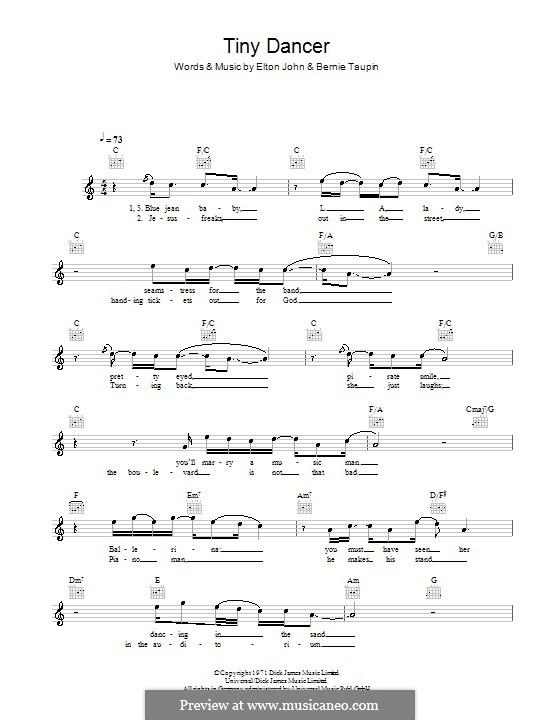 Tiny Dancer: Мелодия, текст и аккорды by Elton John