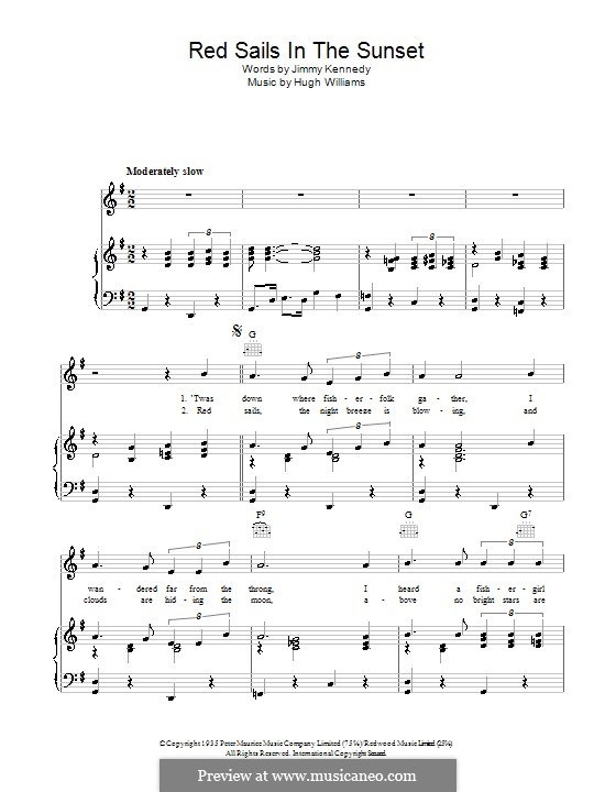 Red Sails in the Sunset (Fats Domino): Для голоса и фортепиано (или гитары) by Hugh Williams