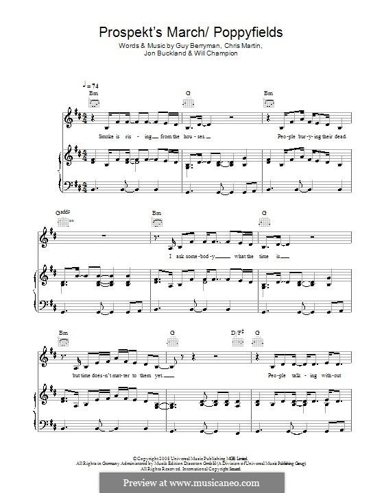 Prospekt's March/Poppyfields (Coldplay): Для голоса и фортепиано (или гитары) by Chris Martin, Guy Berryman, Jonny Buckland, Will Champion