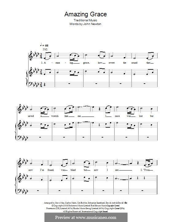 Amazing Grace (Printable Scores): Для голоса и фортепиано (A Flat Major) by folklore
