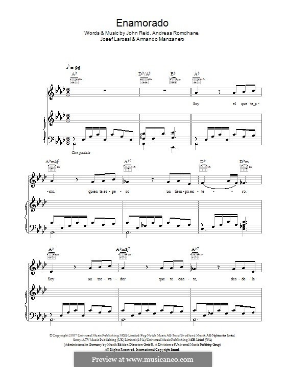Enamorado (Il Divo): Для голоса и фортепиано (или гитары) by Andreas 'Quiz' Romdhane, Armando Manzanero, John Reid, Josef Larossi