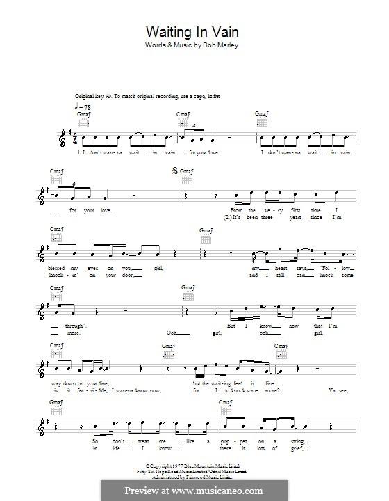 Waiting in Vain: Мелодия, текст и аккорды by Bob Marley
