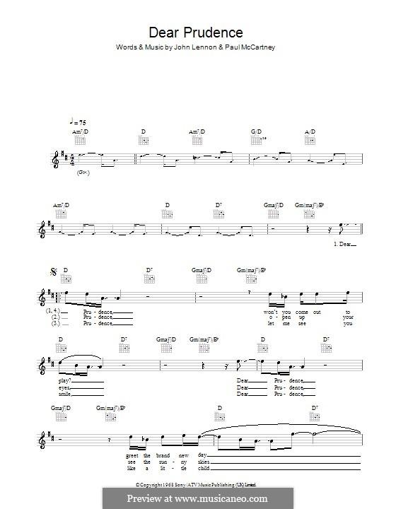 Dear Prudence (The Beatles): Мелодия, текст и аккорды by John Lennon, Paul McCartney
