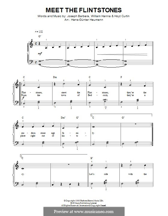 (Meet the) Flintstones: Для голоса и фортепиано by William Hanna, Hoyt Curtin, Joseph Barbera