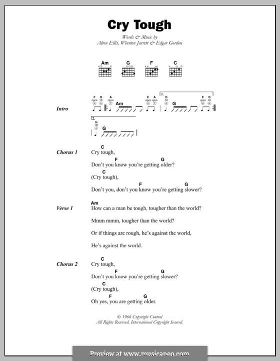 Cry Tough (Alton Ellis): Текст, аккорды by Edgar Gordon, Winston Jarrett