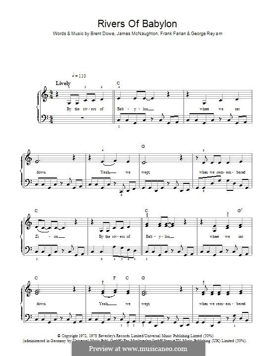 Rivers of Babylon: Для фортепиано (легкий уровень) by Brent Dowe, Frank Farian, George Reyam, James A. McNaughton