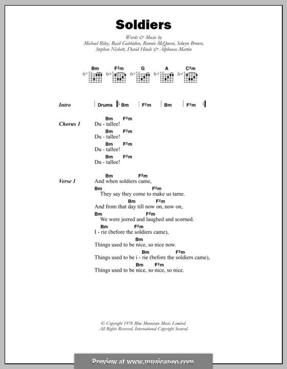 Soldiers (Steel Pulse): Текст, аккорды by Alphonso Martin, Basil Gabbidon, David Hinds, Michael Riley, Ronnie McQueen, Selwyn Brown, Stephen Nisbett