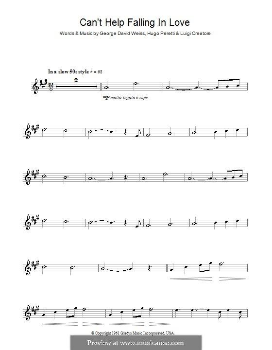 Can't Help Falling in Love: Для альтового саксофона by George David Weiss, Hugo Peretti, Luigi Creatore