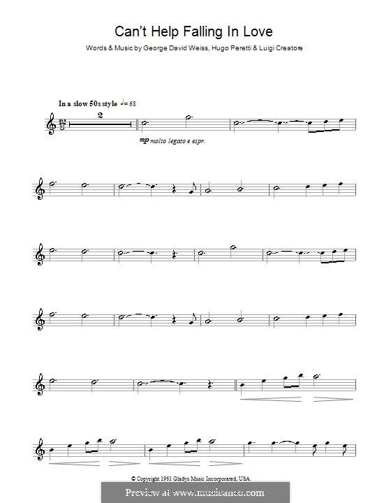 Can't Help Falling in Love: Для флейты by George David Weiss, Hugo Peretti, Luigi Creatore