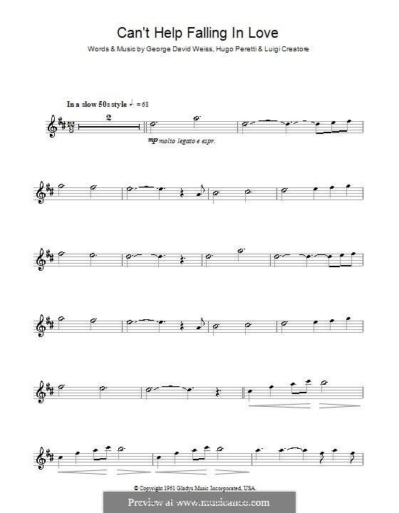 Can't Help Falling in Love: Для тенорового саксофона by George David Weiss, Hugo Peretti, Luigi Creatore