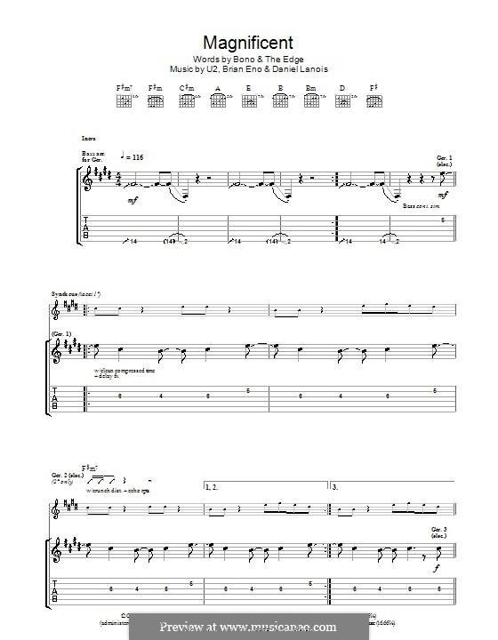 Magnificent: Гитарная табулатура by U2, Brian Eno, Daniel Lanois