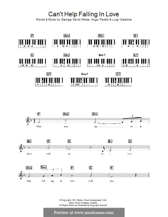 Can't Help Falling in Love: Для клавишного инструмента by George David Weiss, Hugo Peretti, Luigi Creatore