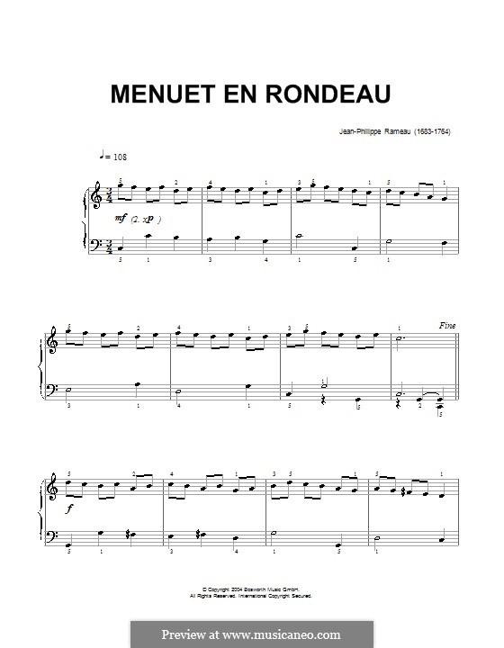Менуэт до мажор, RCT 4: Для фортепиано by Жан-Филипп Рамо