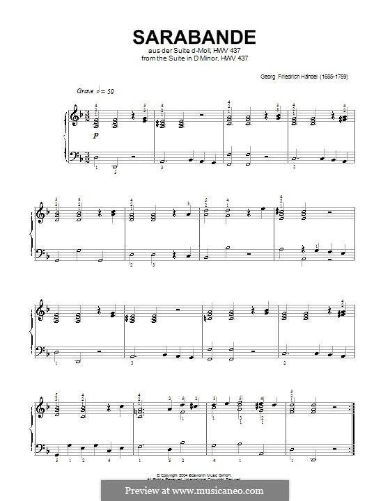 Сюита No.4 ре минор, HWV 437: Сарабанда, для фортепиано (ноты высокого качества) by Георг Фридрих Гендель