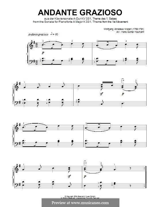 Movement I Andante Grazioso: Theme, for piano by Вольфганг Амадей Моцарт