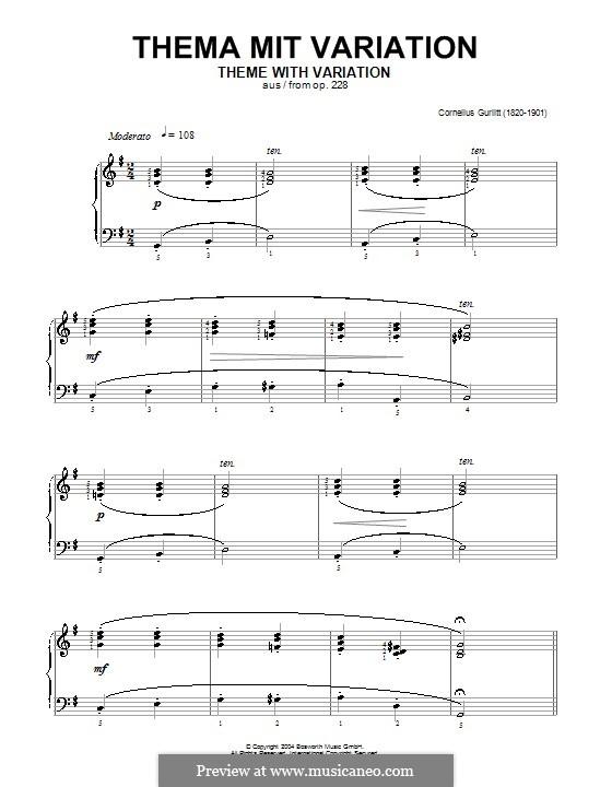 Тема с вариацией, Op.228: Тема с вариацией by Корнелиус Гурлитт