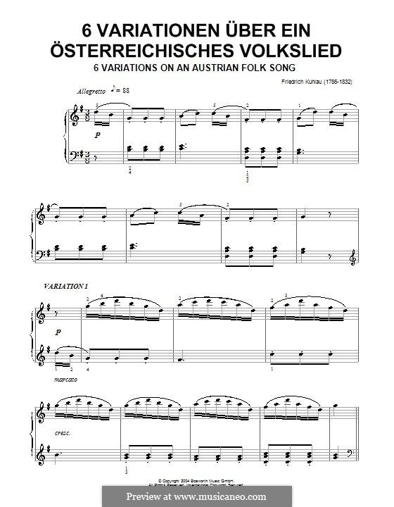 Шесть вариаций на тему австрийской народной песни: Шесть вариаций на тему австрийской народной песни by Фридрих Кулау