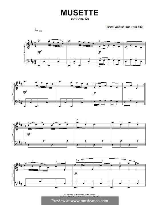 No.22 Мюзетт ре мажор, BWV Anh.126: Для фортепиано by Иоганн Себастьян Бах
