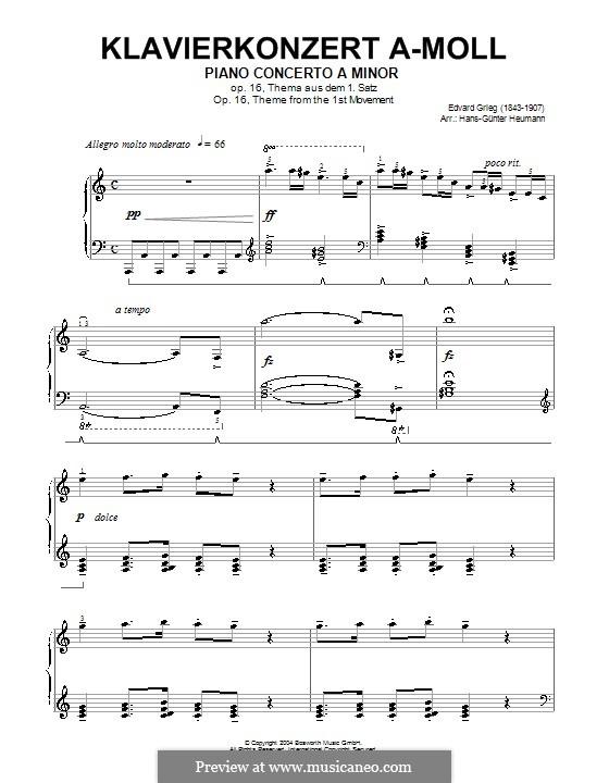 Концерт для фортепиано с оркестром ля минор, Op.16: Часть I. Тема. Версия для фортепиано (ноты высокого качества) by Эдвард Григ