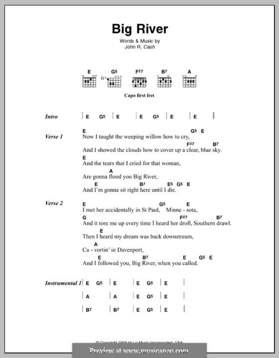 Big River: Для голоса и фортепиано (или гитары) by Johnny Cash