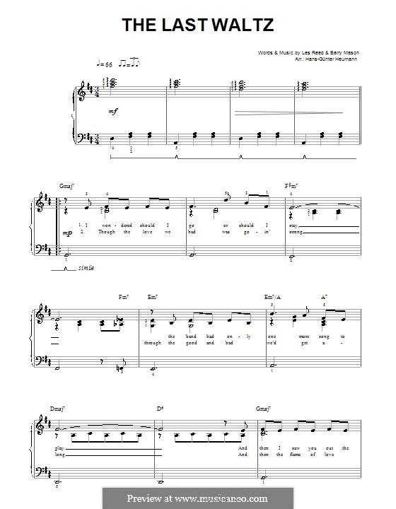 The Last Waltz: Для голоса и фортепиано by Barry Mason, Les Reed