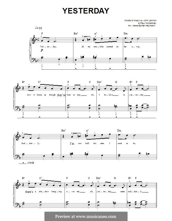 Yesterday (The Beatles): Для голоса и фортепиано (Фа мажор) by John Lennon, Paul McCartney