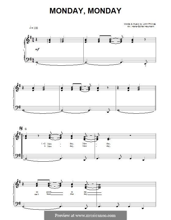 Monday Monday (The Mamas & The Papas): Для голоса и фортепиано by John Phillips