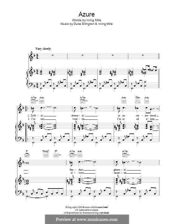 Azure (Duke Ellington): Для голоса и фортепиано (или гитары) by Irving Mills