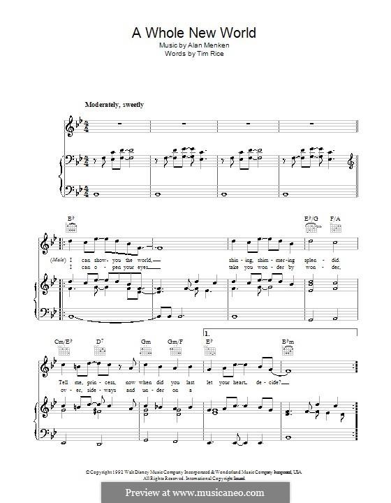 A Whole New World (from Aladdin): Для голоса и фортепиано (или гитары) by Alan Menken
