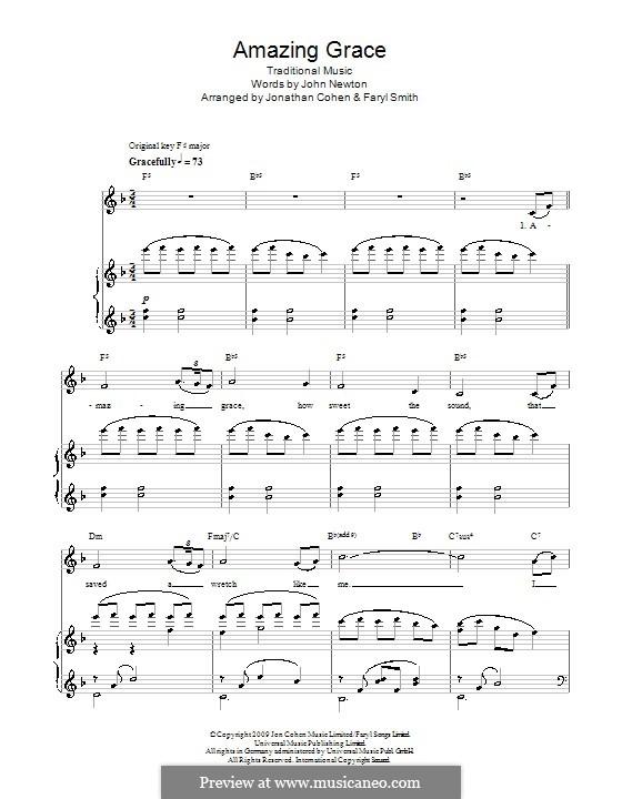 Amazing Grace (Printable Scores): Для голоса и фортепиано by folklore