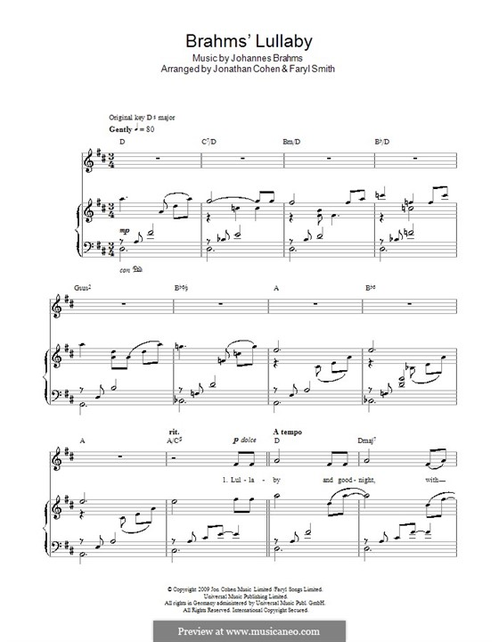 No.4 Колыбельная: For piano. Version by J. Cohen by Иоганнес Брамс