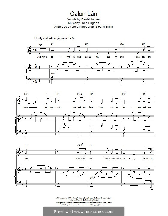Calon Lân: Для голоса и фортепиано by John Hughes