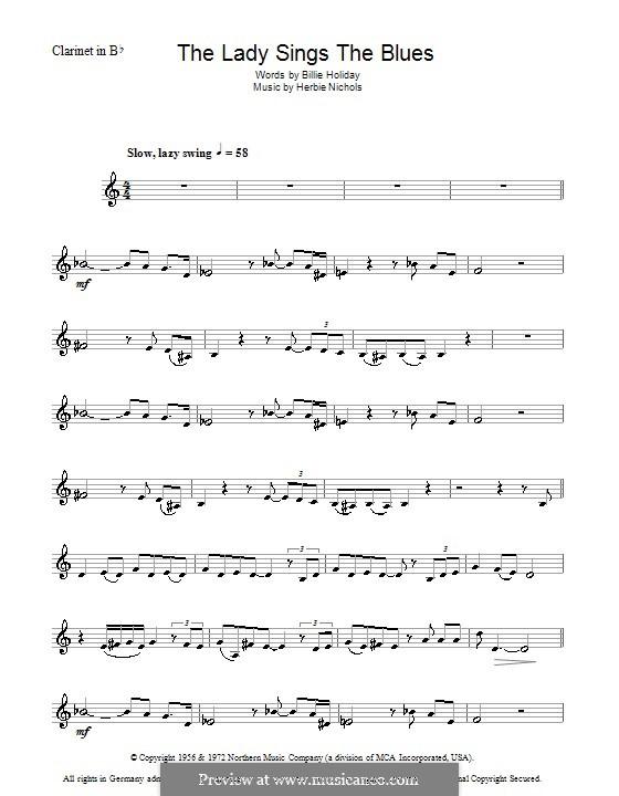 The Lady Sings the Blues (Billie Holiday): Для кларнета by Herbie Nichols