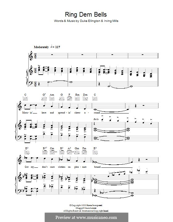 Ring Dem Bells (Duke Ellington): Для голоса и фортепиано (или гитары) by Irving Mills