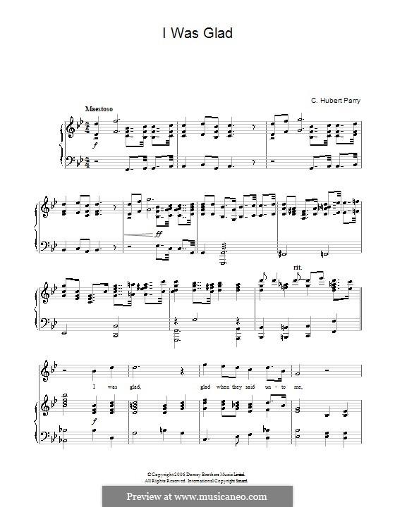 I Was Glad: Для голоса и фортепиано by Чарльз Губерт Гастингс Парри
