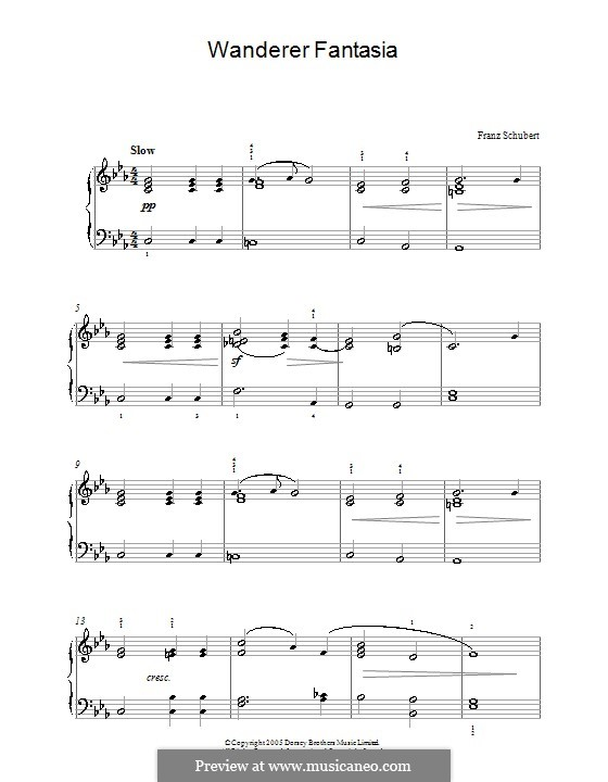 Фантазия для фортепиано до мажор 'Скиталец', D.760 Op.15: Andante (Theme) by Франц Шуберт