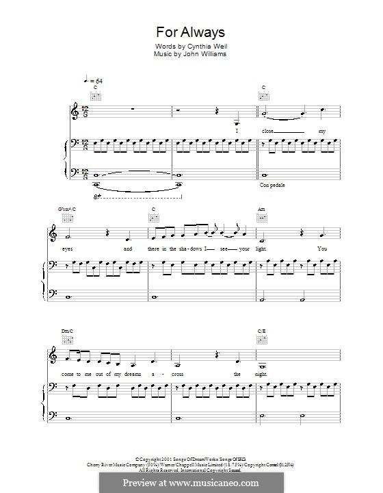 For Always (from AI: Artificial Intelligence): Для голоса и фортепиано или гитары (Lara Fabian) by John Williams